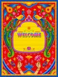 Insegna benvenuta variopinta nello stile del kitsch di arte del camion dell'India royalty illustrazione gratis