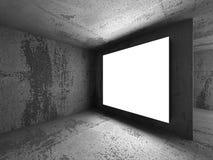 Insegna bianca del tabellone per le affissioni di pubblicità nella stanza concreta scura Immagine Stock