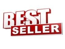 Insegna bianca rossa del best-seller - lettere e blocco Immagini Stock