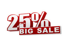 insegna bianca rossa di grande vendita di 25 percentuali - lettere e blocco Immagini Stock