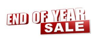 Insegna bianca rossa di vendita di fine d'anno - lettere e blocco Immagine Stock