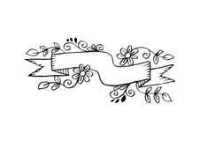 Insegna in bianco astratta del nastro con fondo floreale Fotografia Stock