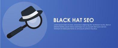 Insegna black hat di seo Lente ed altri strumenti e tattiche di ottimizzazione del motore di ricerca Fotografia Stock Libera da Diritti