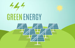 Insegna blu dei pannelli solari Energia alternativa moderna di verde di Eco Illustrazione di vettore royalty illustrazione gratis