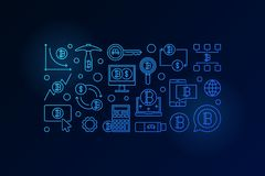 Insegna blu minima di Bitcoin Illustrazione cripto di valuta di vettore Fotografie Stock Libere da Diritti