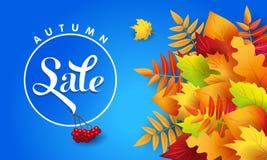 Insegna blu per la vendita di autunno con le foglie di autunno illustrazione vettoriale
