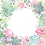 Insegna botanica di stile con la miscela del fiore illustrazione di stock