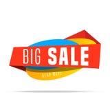 Insegna brillante di vendita eccellente su fondo variopinto Fondo di vendita Progettazione geometrica Vendita eccellente ed offer Fotografia Stock