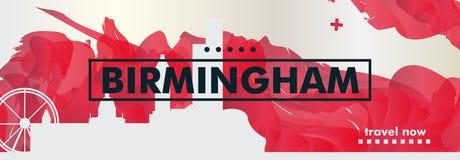 Insegna BRITANNICA di vettore di pendenza della città dell'orizzonte del Regno Unito Birmingham Fotografie Stock
