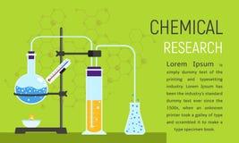Insegna chimica di concetto di ricerca, stile piano royalty illustrazione gratis