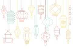 Insegna cinese della lanterna per il nuovo anno lunare ed il metà di festival di autunno illustrazione di stock