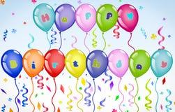 Insegna Colourful e vibrante dei palloni di buon compleanno con testo colourful illustrazione vettoriale