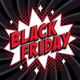 Insegna comica di stile di vendita di Black Friday Iscrizione nera rossa di venerdì su forma bianca e su fondo nero Fumetti di Po illustrazione vettoriale