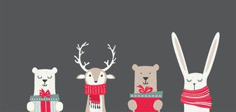Insegna con gli animali svegli di inverno con i presente e le sciarpe Buon Natale e buon anno illustrazione vettoriale
