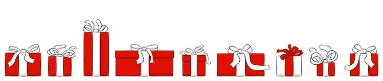 Insegna con i regali di natale isolati su bianco royalty illustrazione gratis
