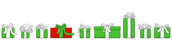 Insegna con i regali di natale isolati su bianco illustrazione vettoriale