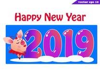 insegna 2019 con il blu del girlon di porcellino illustrazione di stock