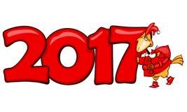 Insegna 2017 con il gallo rosso Immagine Stock Libera da Diritti