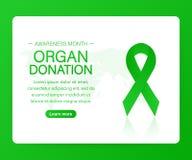 Insegna con il nastro verde realistico di consapevolezza di donazione di organo e del trapianto di organi Illustrazione di vettor illustrazione di stock