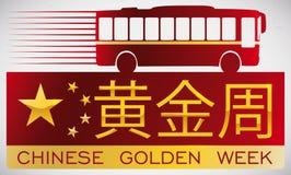 Insegna con la siluetta del bus per promuovere la rottura dorata cinese di settimana, illustrazione di vettore illustrazione di stock