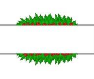 Insegna con le foglie sante di Natale Fotografia Stock Libera da Diritti