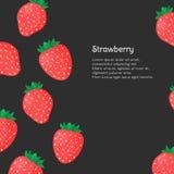 Insegna con le fragole e posto per il vostro testo su fondo nero Illustrazione di vettore Fotografie Stock