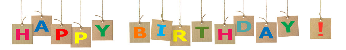 Insegna con le lettere di buon compleanno immagini stock libere da diritti
