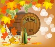Insegna con un barilotto di vino in bottiglie e vetri Fotografie Stock Libere da Diritti