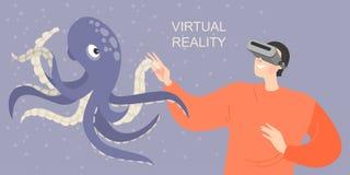 Insegna con un ragazzo in vetri di realtà virtuale che sorride e che allunga le mani ad un polipo virtuale Giochi ed impari con i royalty illustrazione gratis