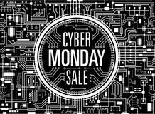 Insegna cyber del nero di vendita di lunedì illustrazione di stock