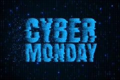 Insegna cyber di vendita di lunedì Priorità bassa blu di codice binario Manifesto di vendita di inverno Offerta speciale Fotografia Stock Libera da Diritti