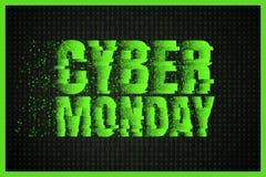Insegna cyber di vendita di lunedì Priorità bassa verde di codice binario Manifesto di vendita di inverno Offerta speciale Fotografia Stock Libera da Diritti