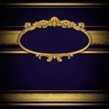 Insegna d'annata con gli ornamenti dorati Immagini Stock Libere da Diritti