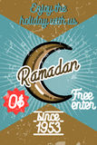 Insegna d'annata del Ramadan di colore illustrazione vettoriale