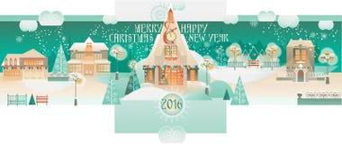 Insegna d'annata di Natale con Eve Cityscape Immagine Stock