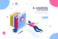 Insegna d'istruzione di e-learning di ricerca dovunque illustrazione vettoriale