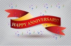 Insegna d'ondeggiamento rossa del nastro di anniversario felice Immagini Stock Libere da Diritti