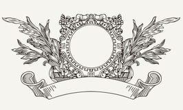 Insegna decorata d'annata del rotolo della corona Fotografie Stock Libere da Diritti
