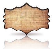 Insegna decorata di legno di Brown con la struttura e la riflessione scure su fondo bianco Immagini Stock Libere da Diritti