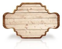 Insegna decorata di legno di Brown, riflessione su bianco Fotografia Stock Libera da Diritti
