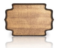 Insegna decorata di legno e riflessione di Brown sopra Immagine Stock