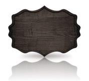 Insegna decorata di legno grigia con la struttura e la riflessione scure su fondo bianco Immagini Stock Libere da Diritti