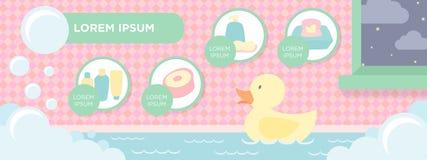 Insegna degli elementi del bagno del bambino Immagine Stock Libera da Diritti