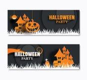 Insegna degli inviti del partito di Halloween e cartoline d'auguri Arte di carta illustrazione di stock