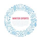 Insegna degli sport invernali, affitto dell'attrezzatura alla stazione sciistica Linea icona di vettore Immagini Stock Libere da Diritti