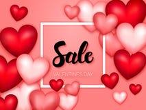 Insegna dei cuori di giorno di biglietti di S. Valentino di vendita Immagini Stock Libere da Diritti