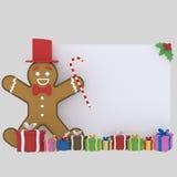 Insegna del biscotto di Natale 3d Fotografia Stock Libera da Diritti