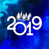Insegna 2019 del buon anno con gli alberi di Natale illustrazione di stock
