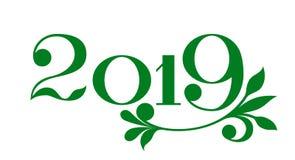 Insegna 2019 del buon anno nello stile di eco illustrazione di stock