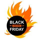 Insegna del cerchio con Black Friday illustrazione di stock